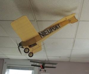 The most recent model I built. A 1912 Nieuport Monoplane. Safely hanging from the bookstore ceiling!