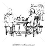sketch-of-two-friends-in-a-cafe-at-a-clipart__k23830760
